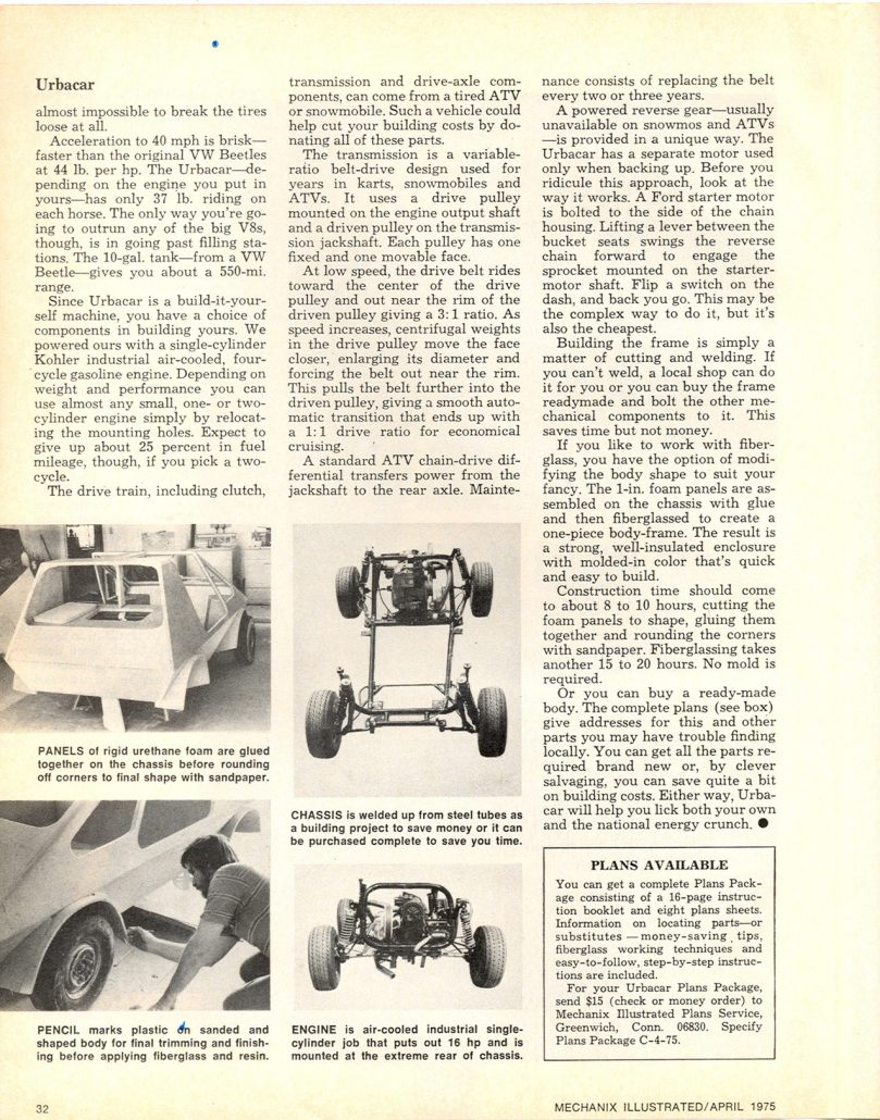 The 1975 Mechanix Illustrated Urba Car: Part 1 – The Urba Car Story ...