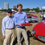 Here Tom Keeney of the Petersen Museum Shares A Moment With Former Bosley Mark I Owner Bill Hebal.  Tom's Holding One Of The Original Models Of The Bosley Built By Richard Bosley in the 1950's.