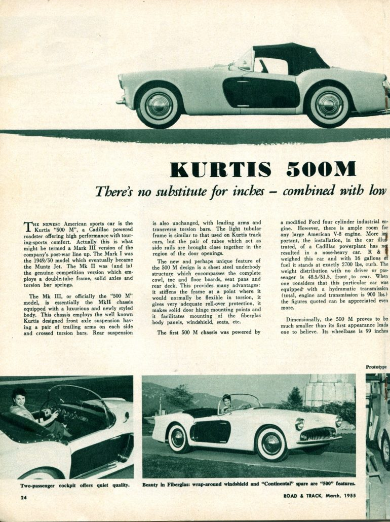 The Kurtis 500 M (McCullough) Debuts - One Fast, Smart Cadillac ...