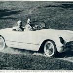 "Caption: T.H. Keating, Chevrolet's top man, takes ""cornering"" demonstration in the Corvette, first mass-produced plastic-body car.  Designer Harley Earl is at the wheel."
