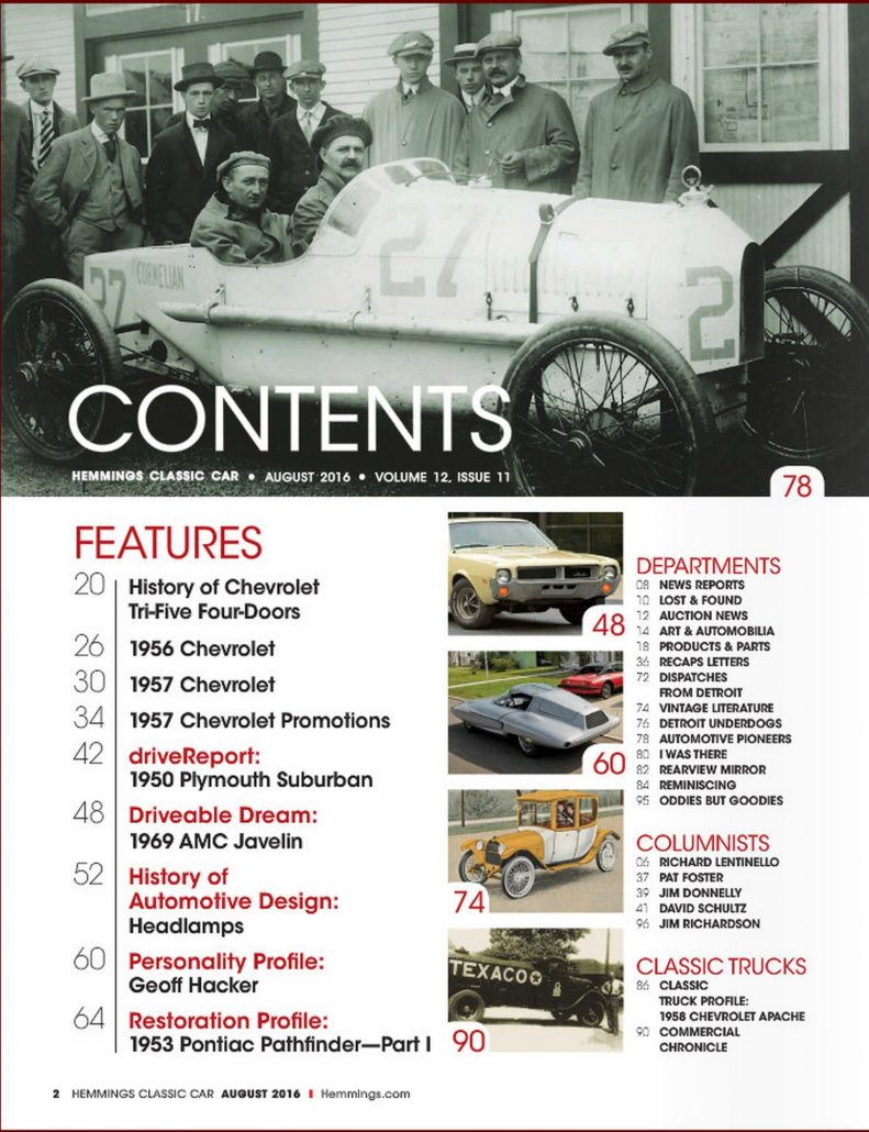2016, August-Hemmings Classic Cars: Personality Profile