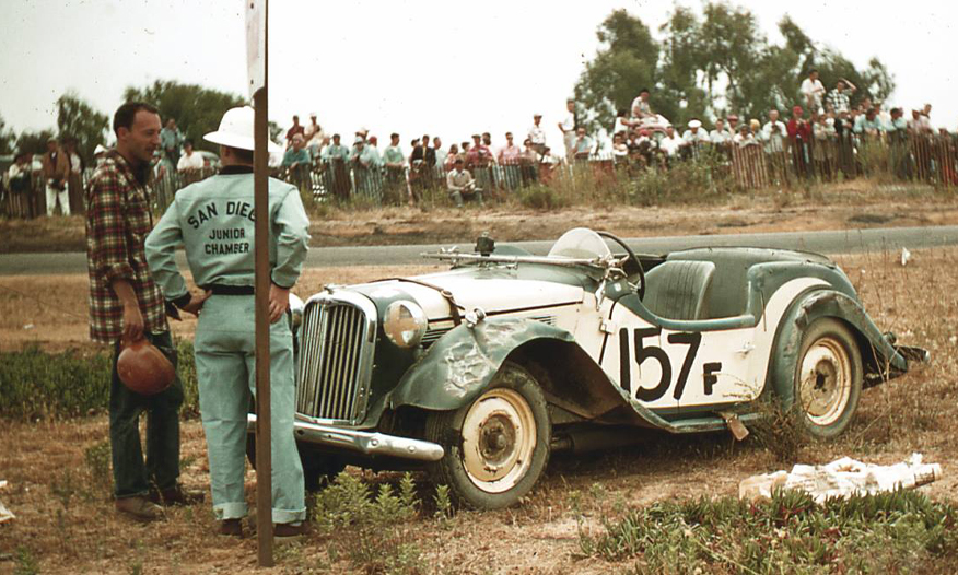 Bob Sullivan discusses his rollover w/track official:  Torrey Pines, 1954