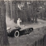 Glasspar Mameco Ardun Racecar on Fire at Pebble Beach, April 1953.  Warren Gerdes (Driver) Shown Safely Exiting From Car (Tritt Collection)
