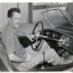 "Here Vergil Rice is Seen at the Wheel of the Car He Had Just Completed Building - the Hellings Victress - Soon to be ""The Johnny Dark Victress"""